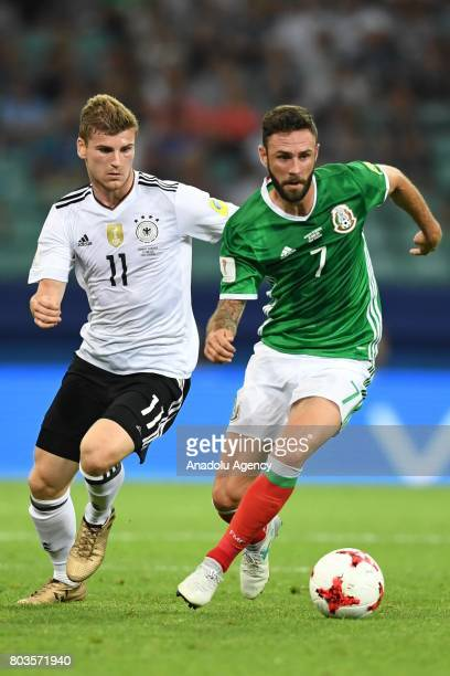 Mexico Miguel Layun and player Germany Timo Werner during match the FIFA Confederations Cup 2017 between Germany and Mexico in Sochi Russia on June...