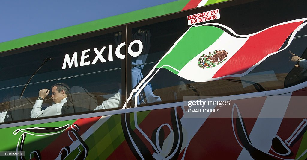 Mexico national football team midfielder Gerardo Torrado waits in the bus upon arrival with his team at the O.R Tambo airport in Johannesburg on June 5, 2010.Mexico will play their first 2010 World Cup game on June 11.