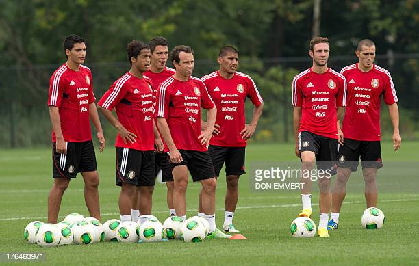 Mexico National soccer team during practice August 13 2013 at the Red Bulls training facitlty in Hanover New Jersey Mexico is scheduled to play Ivory...