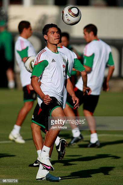 Mexico national soccer team's player Pablo Barrera controls the ball during a training session at Mexican Soccer Federation's High Performance Center...