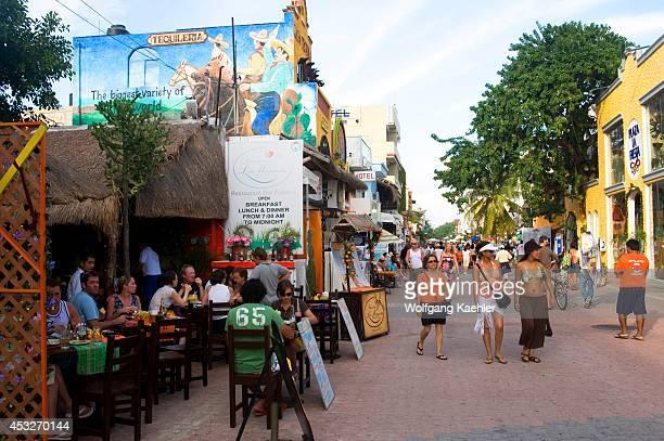 Mexico Near Cancun Playa Del Carmen 5th Avenue Street Scene Restaurant