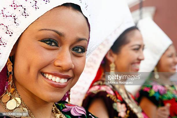 mexico, oaxaca, istmo, portrait of woman in traditional costume - oaxaca stock pictures, royalty-free photos & images