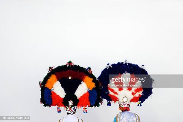 Mexico, Oaxaca, man wearing headdress to Danza Guerrera