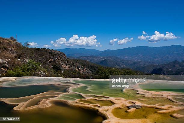 mexico, oaxaca, view of hierve el agua - oaxaca stock pictures, royalty-free photos & images