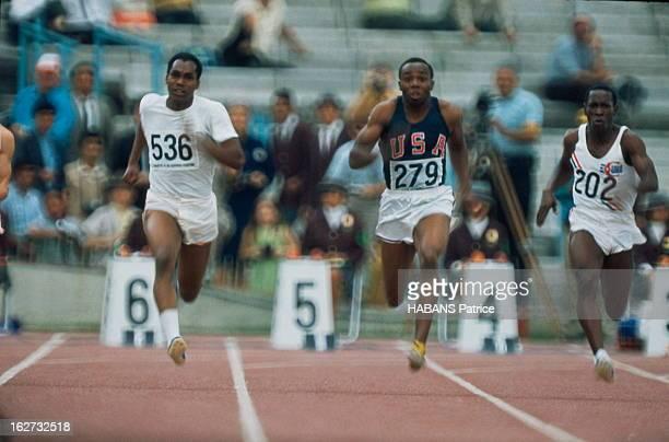 Mexico Olympics Games 1968 Les JO de Mexico du 12 au 27 octobre 1968 Athlétisme 100 mètres hommes l'athlète américain Jim HINES remporte la course en...