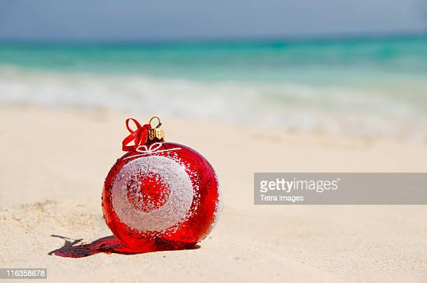mexico, playa del carmen, christmas decoration on beach - mexican christmas stock photos and pictures