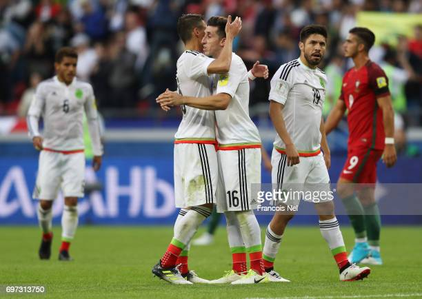 Mexico players celebrate after the 22 draw in the FIFA Confederations Cup Russia 2017 Group A match between Portugal and Mexico at Kazan Arena on...