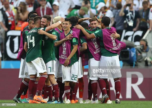 Mexico players celebrate at full time during the 2018 FIFA World Cup Russia group F match between Germany and Mexico at Luzhniki Stadium on June 17...