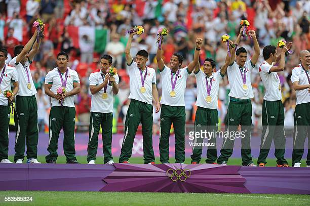 Mexico players celebrate winning the Brazil vs Mexico Final match in the Men's Soccer Competition as part of the 2012 London Olympic Summer Games at...