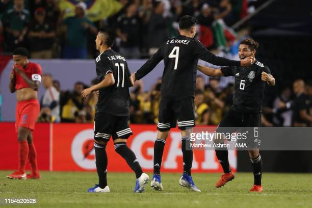 Mexico players celebrate winning the CONCACAF Gold Cup during the 2019 CONCACAF Gold Cup Final between Mexico and United States of America at Soldier...