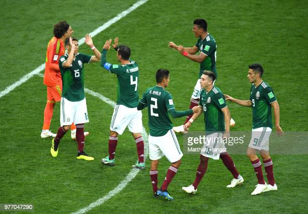 Mexico players celebrates victory following the 2018 FIFA World Cup Russia group F match between Germany and Mexico at Luzhniki Stadium on June 17...