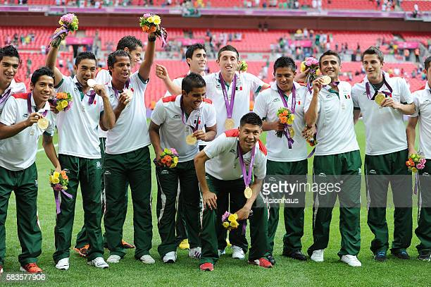 Mexico players celebrating winning the Brazil vs Mexico Final match in the Men's Soccer Competition as part of the 2012 London Olympic Summer Games...