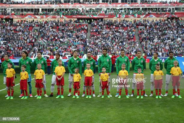 Mexico players line up for the national anthems prior to the FIFA Confederations Cup Russia 2017 Group A match between Portugal and Mexico at Kazan...