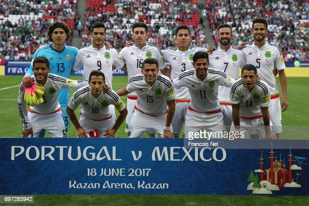 Mexico players line up for the team photos prior to the FIFA Confederations Cup Russia 2017 Group A match between Portugal and Mexico at Kazan Arena...