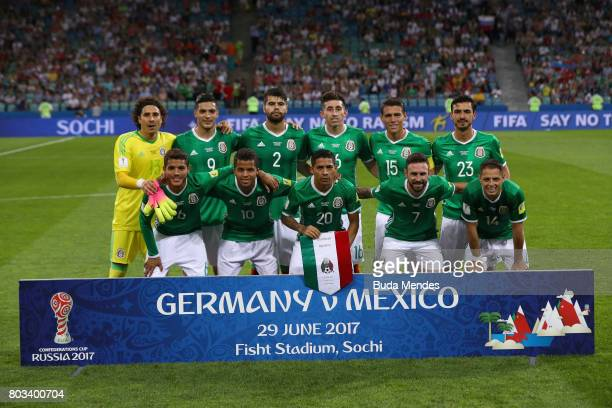 Mexico players line up for the team photos prior to the FIFA Confederations Cup Russia 2017 SemiFinal between Germany and Mexico at Fisht Olympic...