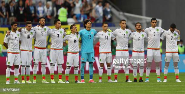Mexico players observe a minute of silence in commemoration for the victims of the Portugal wildfire prior to the FIFA Confederations Cup Russia 2017...