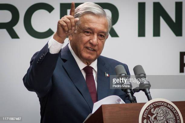 Mexico President Andrés Manuel López Obrador delivers his first State of the Nation at the National Palace on September 1 2019 in Mexico City Mexico...