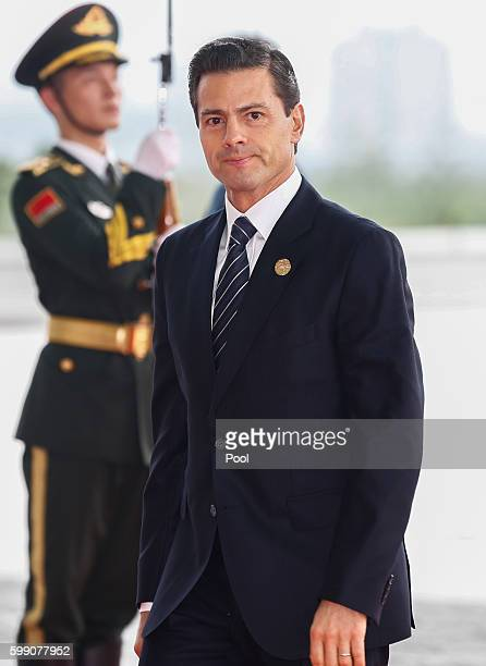 Mexico President Enrique Pena Nieto arrives at the Hangzhou International Expo Center on September 4 2016 in Hangzhou China World leaders are...