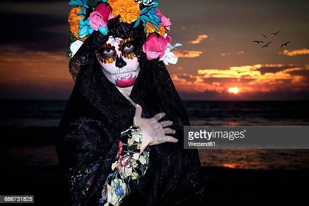 mexico, riviera nayarit, female skeleton figure symbolizing the celebration of death on dia de los muertos - la catrina stock photos and pictures