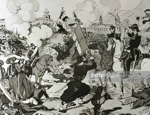 Mexico Siege of Puebla 1863 between forces of the Second French Empire and forces of the Second Federal Republic of Mexico Engraving