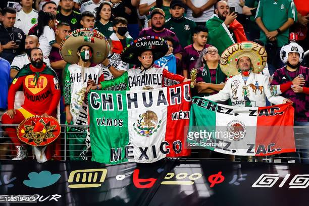 Mexico soccer fans cheer during the game between Mexico and Iceland on May 29, 2021 at AT&T Stadium in Arlington, Texas.