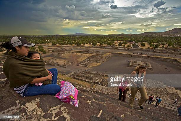 CONTENT] Mexico State North East of Mexico City the UNESCO World Heritage Site of the Teotihuacan Archaeological Ruins Tourists climb the Pyramid of...