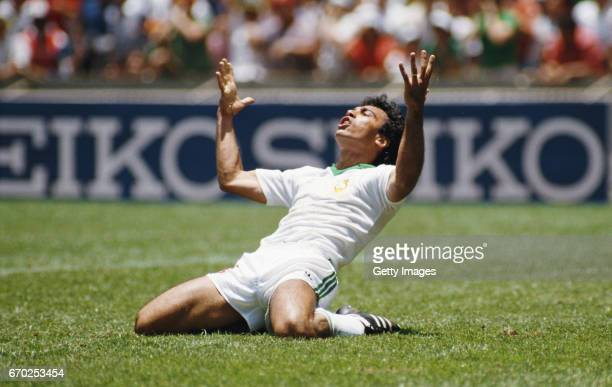 Mexico striker Hugo Sanchez reacts during the 1986 FIFA World Cup match between Mexico and Paraguay at the Aztec Stadium on June 7 1986 in Mexco City...
