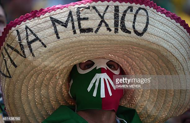 A Mexico supporter is pictured prior to a Round of 16 football match between Netherlands and Mexico at Castelao Stadium in Fortaleza during the 2014...