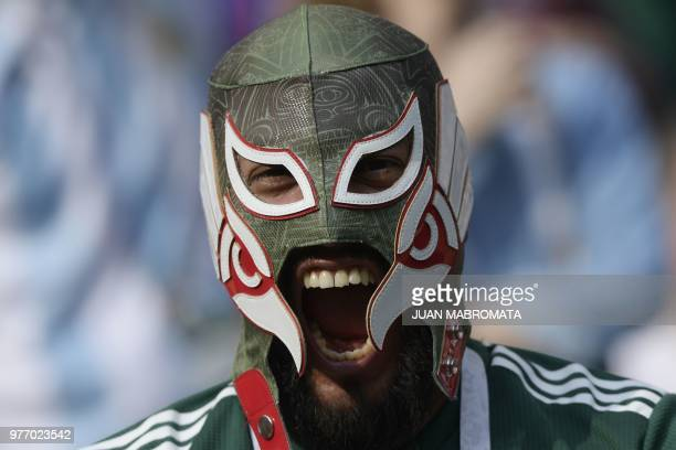 Mexico supporter poses prior to the Russia 2018 World Cup Group F football match between Germany and Mexico at the Luzhniki Stadium in Moscow on June...