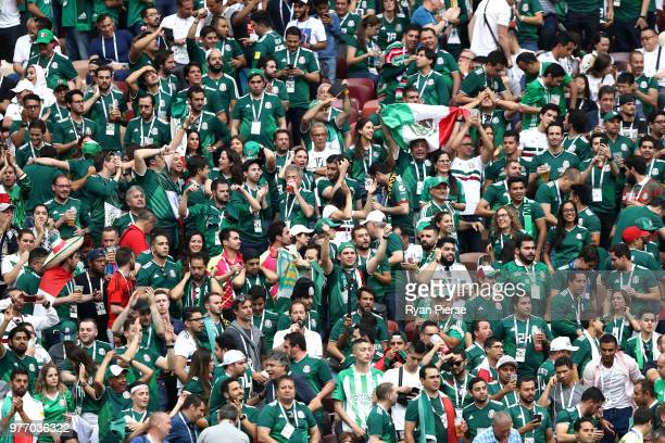 Mexico supporters celebrate during the 2018 FIFA World Cup Russia group F match between Germany and Mexico at Luzhniki Stadium on June 17 2018 in...