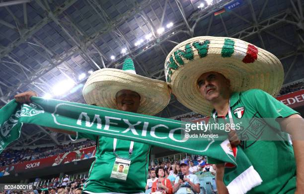 Mexico supporters enjoy atmosphere prior to the FIFA Confederations Cup Russia 2017 SemiFinal between Germany and Mexico at Fisht Olympic Stadium on...
