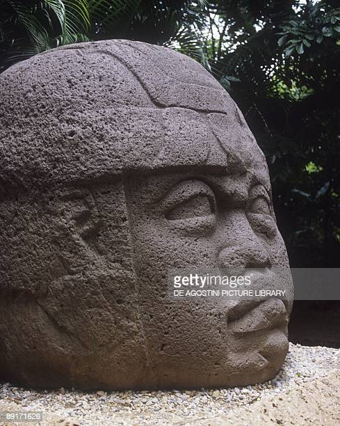 Mexico Tabasco State Villahermosa Giant Olmec warrior head at La Venta archaeological site