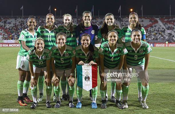 Mexico team lines up during the FIFA U20 Women's World Cup Group D match between Mexico and Korea Republic at National Football Stadium on November...