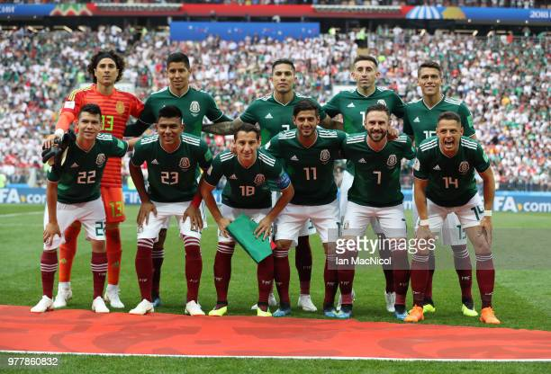 Mexico team pose for a photograph during the 2018 FIFA World Cup Russia group F match between Germany and Mexico at Luzhniki Stadium on June 17 2018...
