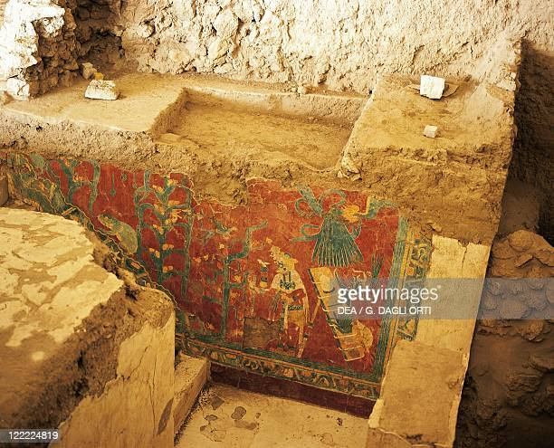 Mexico Tlaxcala State Cacaxtla archaeological site Maya mural painting depicting agricultural scene