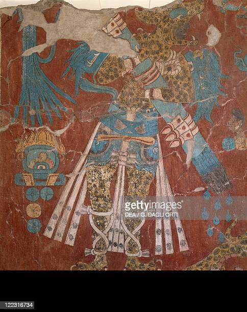 Mexico Tlaxcala State Cacaxtla archaeological site Olmec civilization Xicalanca culture fresco depicting the Jaguar Man circa 900 AD