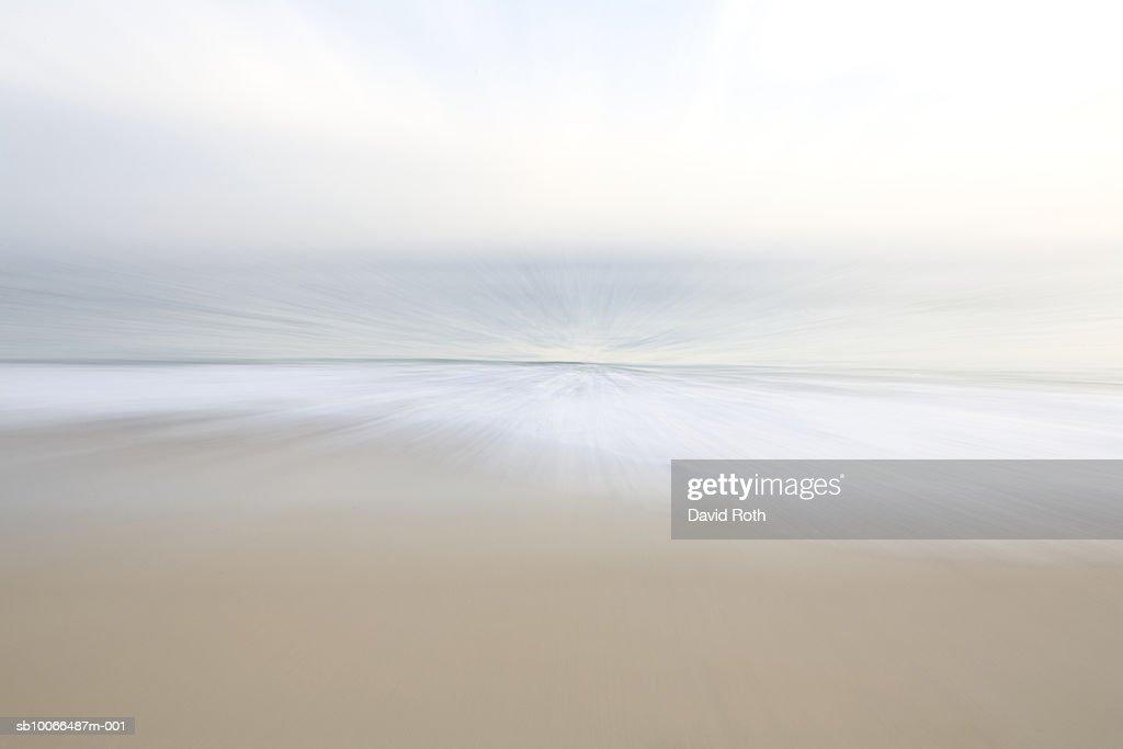 Mexico, Todos Santos, Beach and seascape, blurred motion : Foto de stock