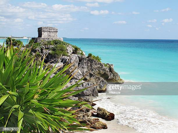 mexico tulum ancient temple ruin - mayan riviera stock photos and pictures