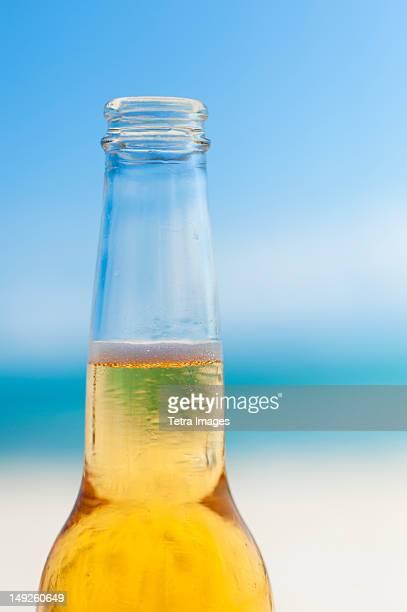Mexico, Yucatan, Beer bottle on beach