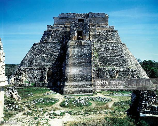 Mexico Yucatan Maya civilization Uxmal archaeological site PreHispanic town The Adivino or Pyramid of the Magician 10th century AD