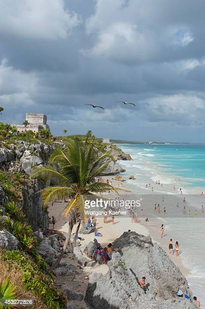 Mexico Yucatan Peninsula Near Cancun Riviera Maya Maya Ruins Of Tulum View Of Beach And El Castillo Tourists