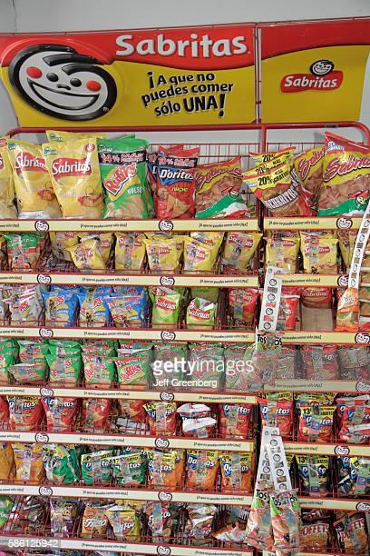 Mexico Yucat‡n Peninsula Quintana Roo Cancun Mercado 28 pharmacy Doritos snack Sabritas Mexican brand pack