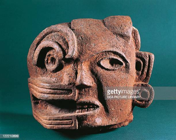 Mexico Zapotec civilization Classic period Painted terracotta head representing duality of life and death From the Central Valleys