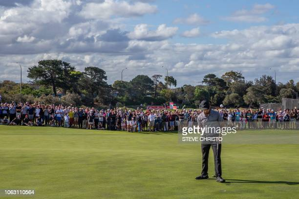 Mexico's Abraham Ancer celebrates his victory during the final round of the Australian Open golf tournament at the Lakes Golf Club at Eastlakes in...