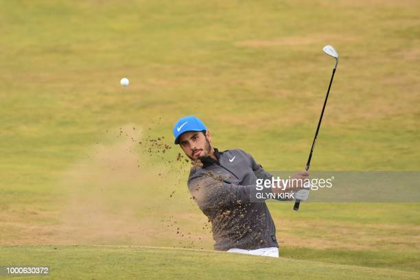 Mexico's Abraham Ancer plays out of a greenside bunker on the 6th hole during a practice round at The 147th Open golf Championship at Carnoustie...