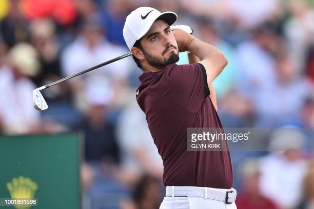 Mexico's Abraham Ancer watches his iron shot from the 3rd tee during his first round on day one of The 147th Open golf Championship at Carnoustie...