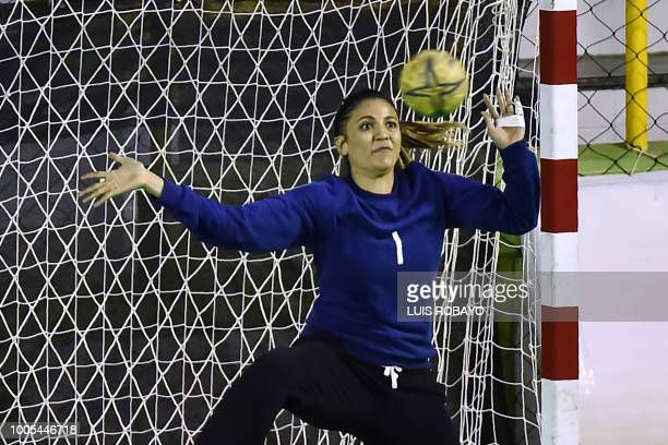 Mexico's Adela Valenzuela tries to stop the ball during the Women's Handball bronze medal final during the 2018 Central American and Caribbean Games...