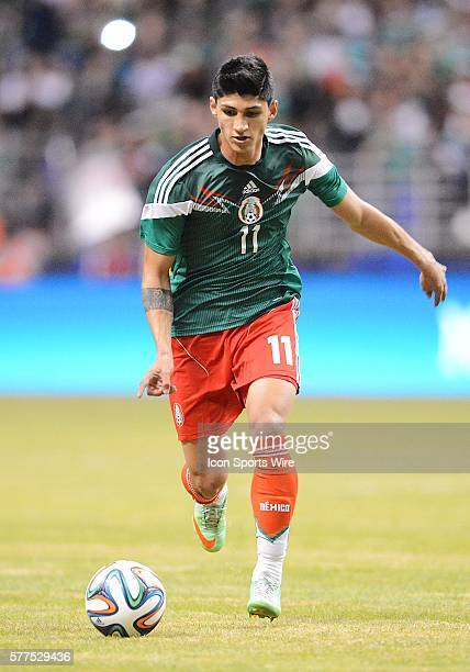 Mexico's Alan Pulido during a friendly soccer match between the Mexico National Team and the Korean National Team in the Alamodome in San Antonio...