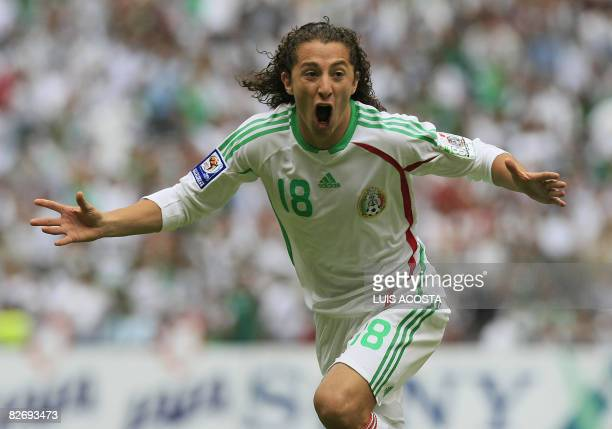 Mexico's Andres Guardado celebrates after scoring against Jamaica during their FIFA World Cup South Africa2010 qualifier match at the Azteca stadium...