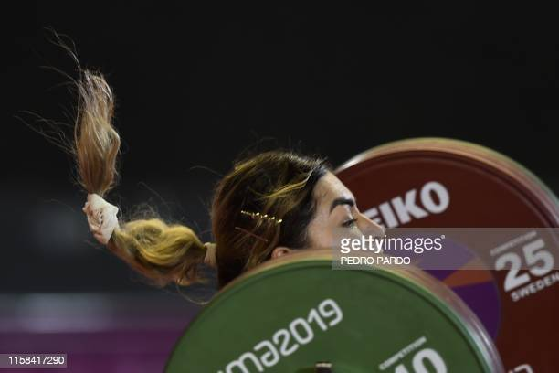 Mexico´s Aremi Fuentes competes in the Women's 76 kg of the Weightlifting event during the Pan-American Games Lima 2019, in Lima, on July 29, 2019.